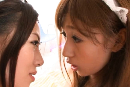 Tiara Ayase lovely Asian doll plays lesbian game
