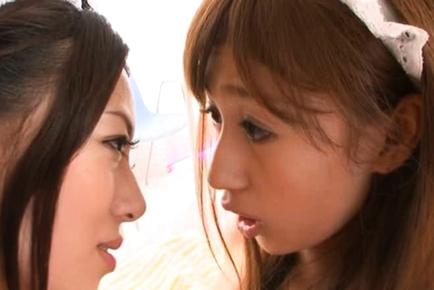 Tiara Ayase lovely Asian doll plays lesbian game