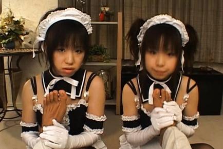 Airi and Meiri Hot Asian girls play maids