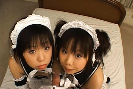 Airi and Meiri Hot Asian girls play maids