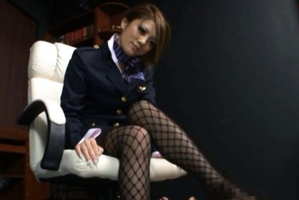 Risa Tsukino Hot Asian model is a wild horny stewardess
