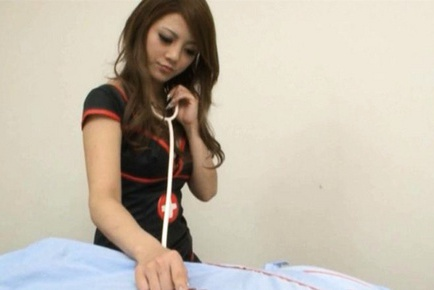 Risa Tsukino Asian model in her super uniform is a wild nurse