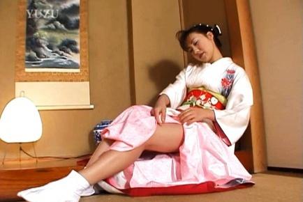 Megumi Tsuchida Asian gal in cosplay masturbates