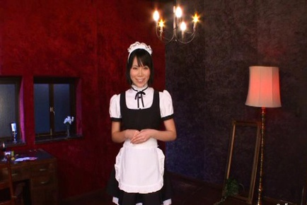 Maid cosplay blowjob gets a wad of cum facial Yui Tsubaki