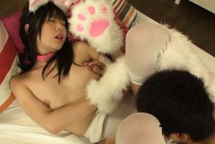 Naughty teen Tsubomi gets fucked in her kitty costume