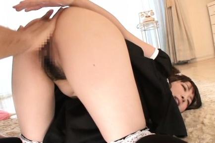 Cute Japanese maid Yui Sasaki bounces on cock gets a facial