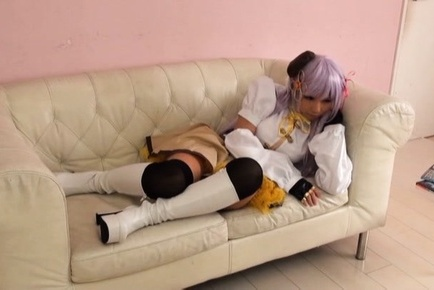 Cosplay scene with a naughty Japanese cutie