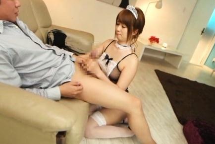 Amazing Asian maid Yui Nishikawa enjoys sex with two guys